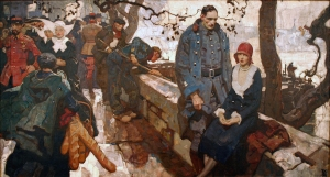 """[Parisian Scene], for Philip Gibbs """"Sergeant of Chasseurs,"""" Hearst's International Combined with Cosmopolitan 86 (April, 1929): p. 34, 1928. Dean Cornwell (1892-1960). Oil on canvas, Gift of Arthur William Brown, 1976.68 LIC"""