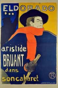 Henri de Toulouse-Lautrec, Eldorado : Aristede Bruant in his Cabaret, 1892, color lithograph, 138 x 96 cm. Herakleidon Museum, Athens, Greece.