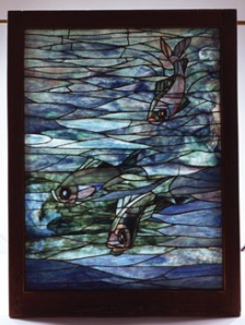 Caption: Tiffany Glass & Decorating Co., Window, c. 1890, Stained glass in period oak frame, 49 x 36 in., The Mark Twain House & Museum, Gift of Mr. and Mrs. Thomas C. Beach, 1975.50.1