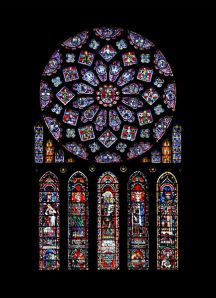 Northern rose window of Chartres Cathedral, ca. 1235. Chartres, France.