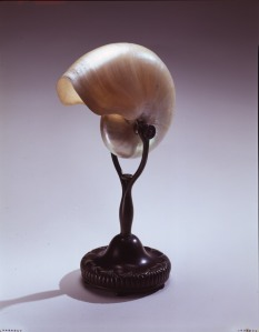 Louis Comfort Tiffany (1848-1933).  Clear Iradescent and Green Favrile Glass Paperweight Vase, ca. 1910. Favrile glass, 10 in. height. Gift of the James McA Thomson Estate. 1993.113.1