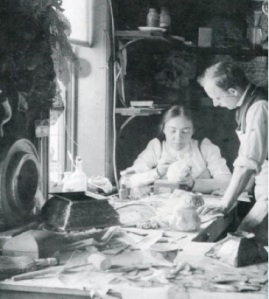 Clara Driscoll in work room at Tiffany Studios with Joseph Briggs, 1901. Metropolitan Museum of Art, NY. (Thanks to Ms. Vreeland's website above)