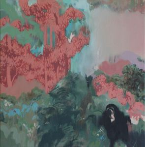 Skylar Hughes, Hem and Leaf and Branch and Bone, Oil on Canvas, 14 x 14 in, 2012, Collection of the artist