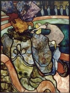 """Henri de Toulouse-Lautrec, 1864-1901), Louis Comfort Tiffany (1848-1933), Au Nouveau Cirque: Papa Chrysantheme, stained-glass: """"American"""" glass, cabuchons, 1894, Musee d'Orsay, Paris"""