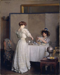 Tea Leaves, 1909.  William McGregor Paxton (1869-1941).  Oil on canvas, 36 1/8 x 28 ¾ in.  Metropolitan Museum of Art.