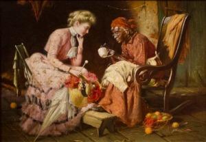 Reading Tea Leaves, 1906.  Harry Herman Roseland (c.1867—1950).  Oil on canvas, 10 1/8 x 14 ¼ in.  Gift of Mrs. Valentine B. Chamberlain, 2000.87.
