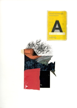 Skylar Hughes, Untitled Collage (Ticket), Collage and Drawing on Paper, 9 x 12 in, 2012, Collection of the artist