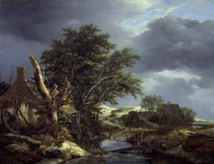 Jacob van Ruisdael (1628-1682), Landscape with a Blasted Tree Near a House, c1645, Oil on panel, 20 ¾  x  26 ½ in.  Fitzwilliam Museum.