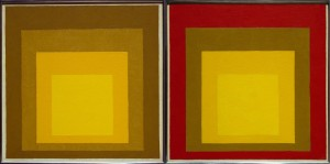 Josef Albers (1888-1976), Despite sharing a similar color scheme, these two paintings give us very different impressions. Left: Study for Homage to the Square: From the Soil (1954); Right: Study for Homage to the Square: Last Century (1956), Oil on fiberboard. Hirshhorn Museum and Sculpture Garden.