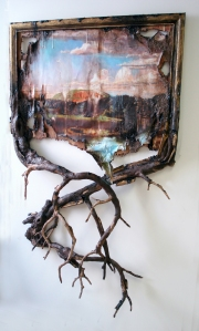 Valerie Hegarty (b. 1967), Melted West Rock with Branches, 2012, Wood, wire, epoxy, archival print on canvas, acrylic, paint, gel mediums, sand, glue, and hardware, 65 x 48 x 11 in.  Paul Zimmerman Purchase Fund, 2011.104.