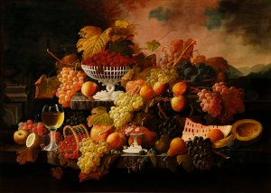 Abundance of Fruit, 1860.  Severin Roesen (ca. 1815-ca. 1872).  Oil on panel.  Long-term loan from the Jack and Susan Warner Collection, 2011.115LTL.