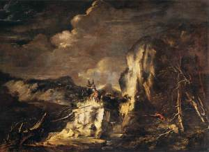 Rocky Landscape with a Huntsman and Warriors, c1670.  Salvator Rosa (1615-1673).  Oil on canvas, 55 ¾ x 75 1/2 in.  Louvre Museum.