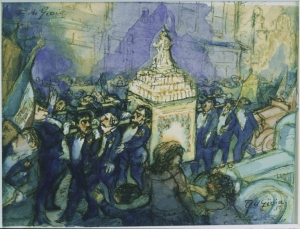 Procession, 1937.  Frank di Gioia (1900-1981).  Watercolor over ink on paper, 4 x 5 ¾ in.  The Phillips Collection.