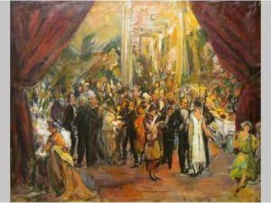 Gertrude Vanderbilt Whitney's Reception, 1924.  Theresa Bernstein (1891-2002).  Oil on canvas, 29 1/4 x 36 in.  New York Historical Society.