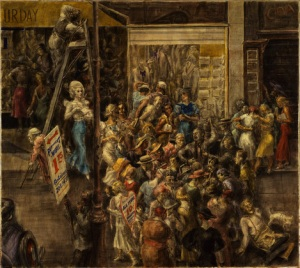 In Fourteenth Street, 1934.  Reginald Marsh (1898-1954).  Egg tempera on board, 35 7/8 x 39 3/4 in.  Museum of Modern Art.