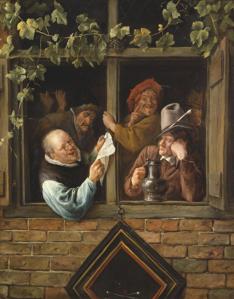 Rhetoricians at a Window, 1661-1666.  Jan Steen (1626-1679).  Oil on canvas, 29 7/8 x 23 1/16 in.  Philadelphia Museum of Art.