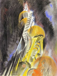 Acquired by the NBMAA in 1952: Abstraction, 1913. Max Weber (1881-1961). Pastel, charcoal and collage element on paper, 24 ½ x 18 ¾ in. Charles F. Smith Fund, 1953.04.