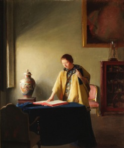 Woman with Book, ca. 1910.  William McGregor Paxton (1869-1941).  Oil on canvas on board.  1981.16.
